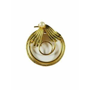 Vintage Gold Tone Faux Pearl Lightweight Brooch